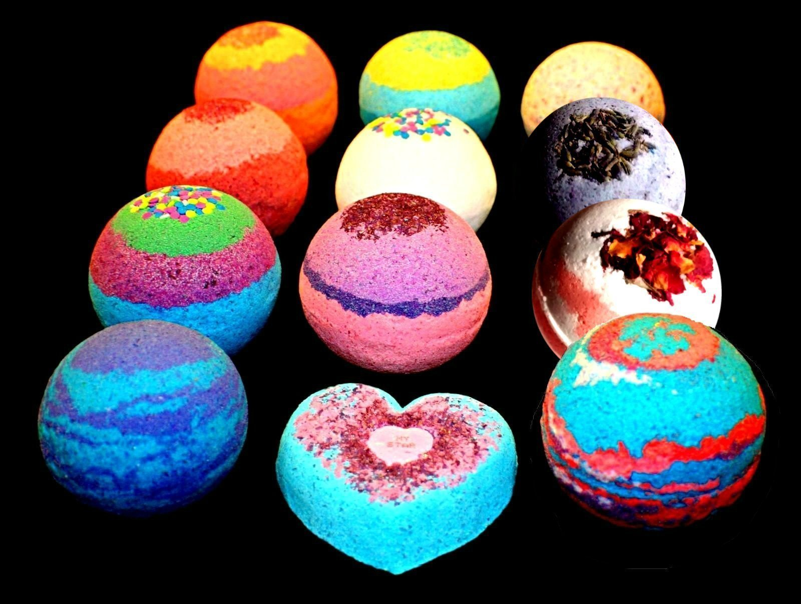 Bath Bombs - 9 pack FIZZY - 4.5 ounce BATH BOMB - Organic Colorful Mix and Match by Soakey Dokey Bath Bombs