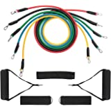 TEMINICE Exercise Resistance Bands Set, Fitness Resistance Bands Set with 5 Fitness Tubes/Handles/Door Anchor/Ankle Straps/Carrying Pouch/Workout Guides, Best for Men, Women