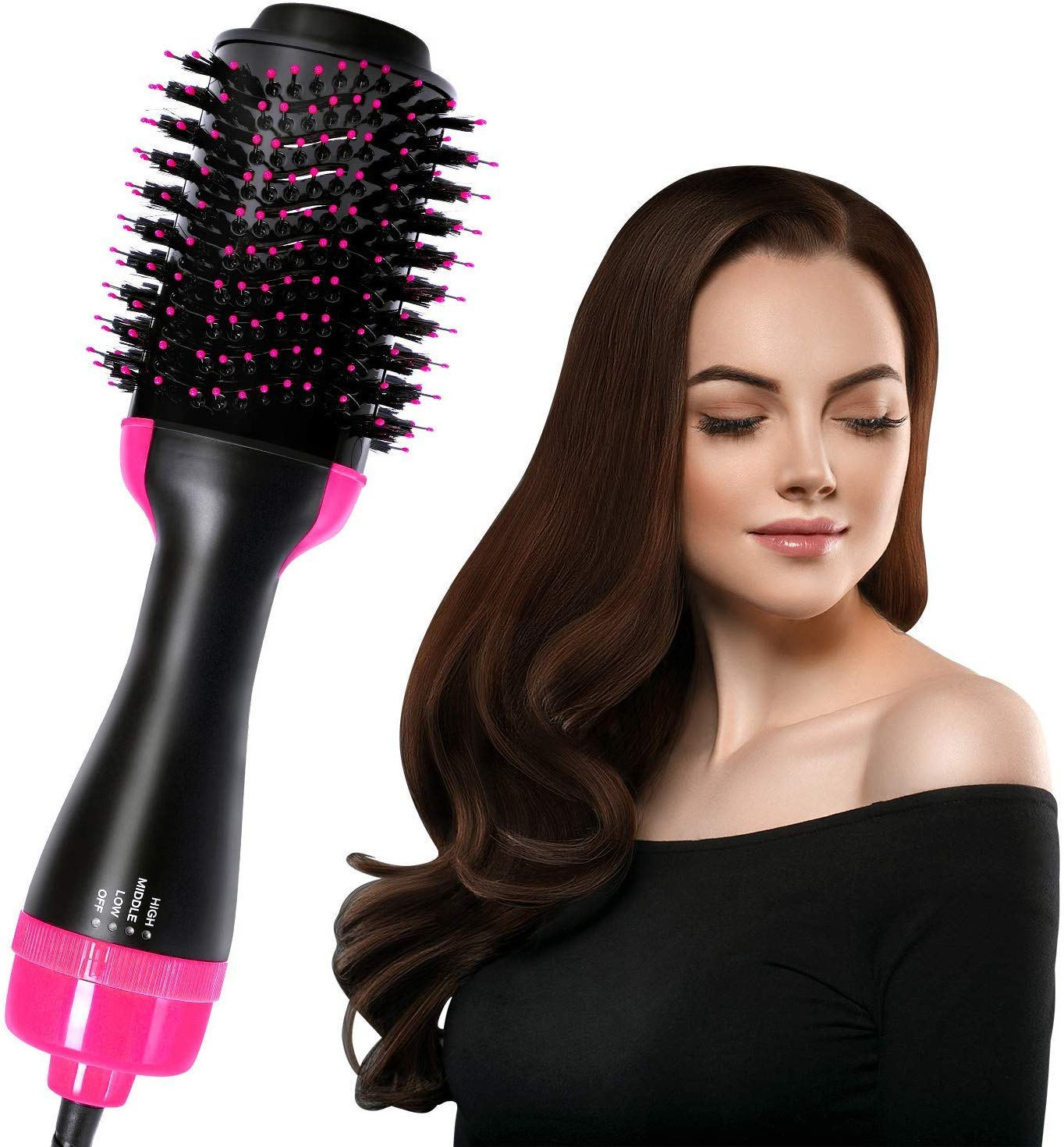 Hair Dryer Brush, ElekBest One Step 3 in 1 Hot Air Comb with Negative Ionic Technology Straightener Curler Comb for All Hair Types 0808hair10 w36