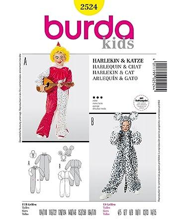 Burda 2524 Schnittmuster Kostüm Fasching Karneval Harlekin & Katze ...