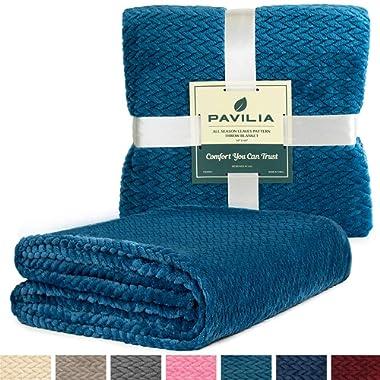 PAVILIA Luxury Soft Plush Teal Throw Blanket for Sofa, Couch   Velvet Fleece Chevron Pattern Throw   Cozy Warm Lightweight Microfiber, Reversible Sea Blue Blanket   All Season Use   50 x 60 Inches