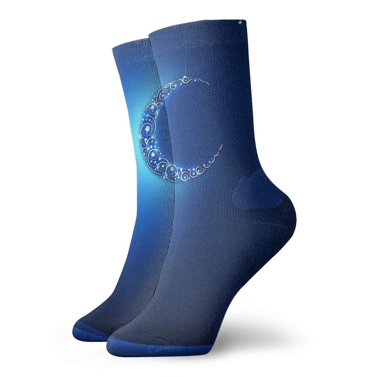 Unisex High Ankle Cushion Crew Socks Crescent Moon Casual Sport Socks