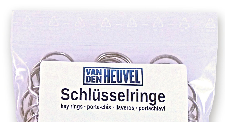 Plateado resistente Llavero van den Heuvel de acero niquelado en diferentes tama/ños desde una unidad hasta un gran paquete 5//–/70/mm