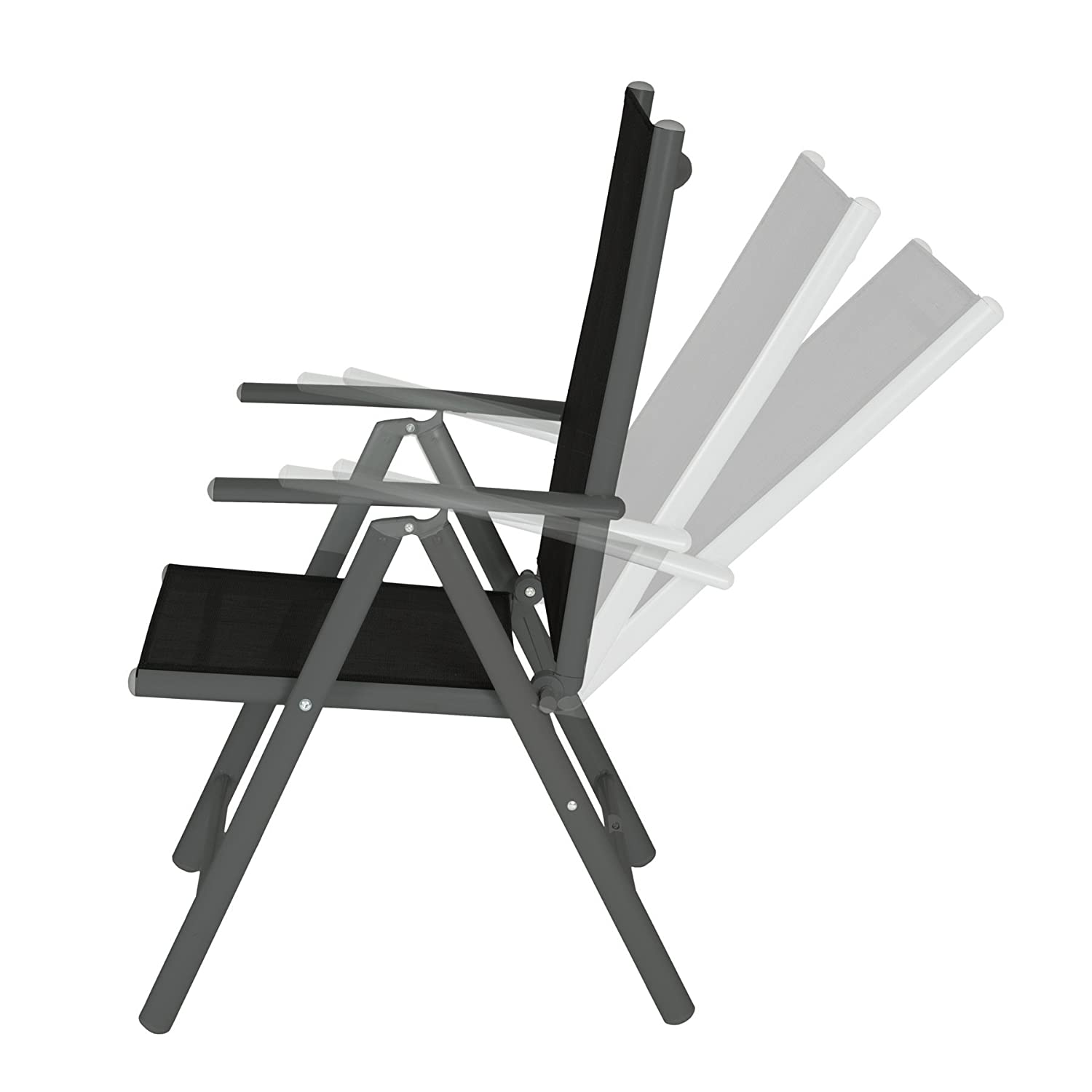 TecTake Aluminium folding garden chairs set adjustable with