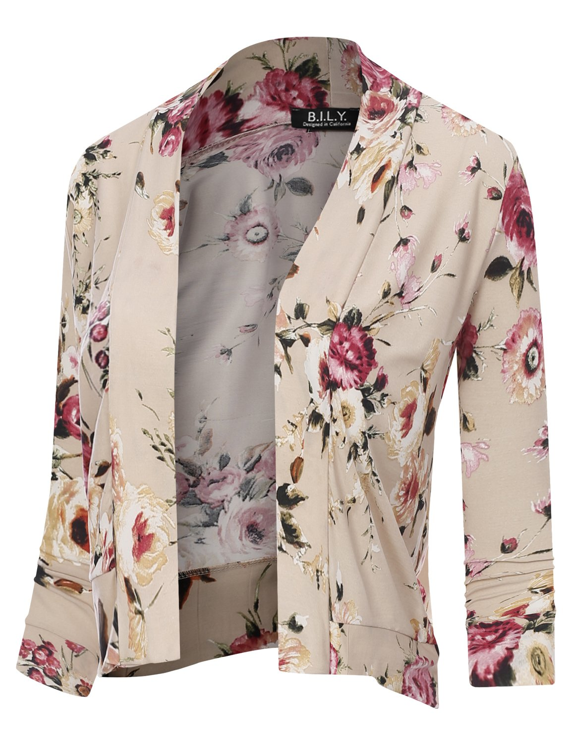 BILY Women's Classic Open Front Cropped 3/4 Sleeve Floral Print Cardigan 11992 Stone Medium by B.I.L.Y (Image #1)