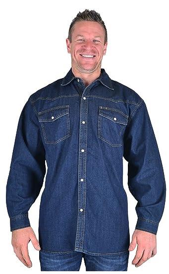 c1340c257b6 Kam Big Mens Indigo Hank Long Sleeve Denim Shirt 2XL 3XL 4XL 5XL 6XL 7XL 8XL
