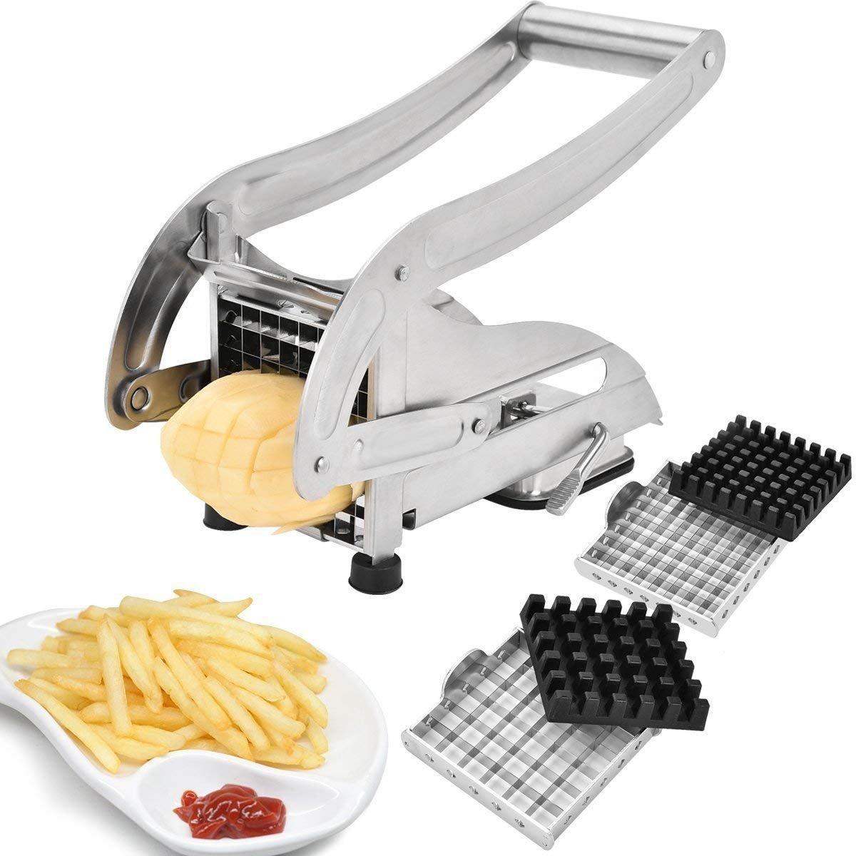 EEO Stainless Steel French Fries Potato Cutter 2 Interchangeable Blades Sucker Bottom Fruit Veg into Finger Sticks Sopito