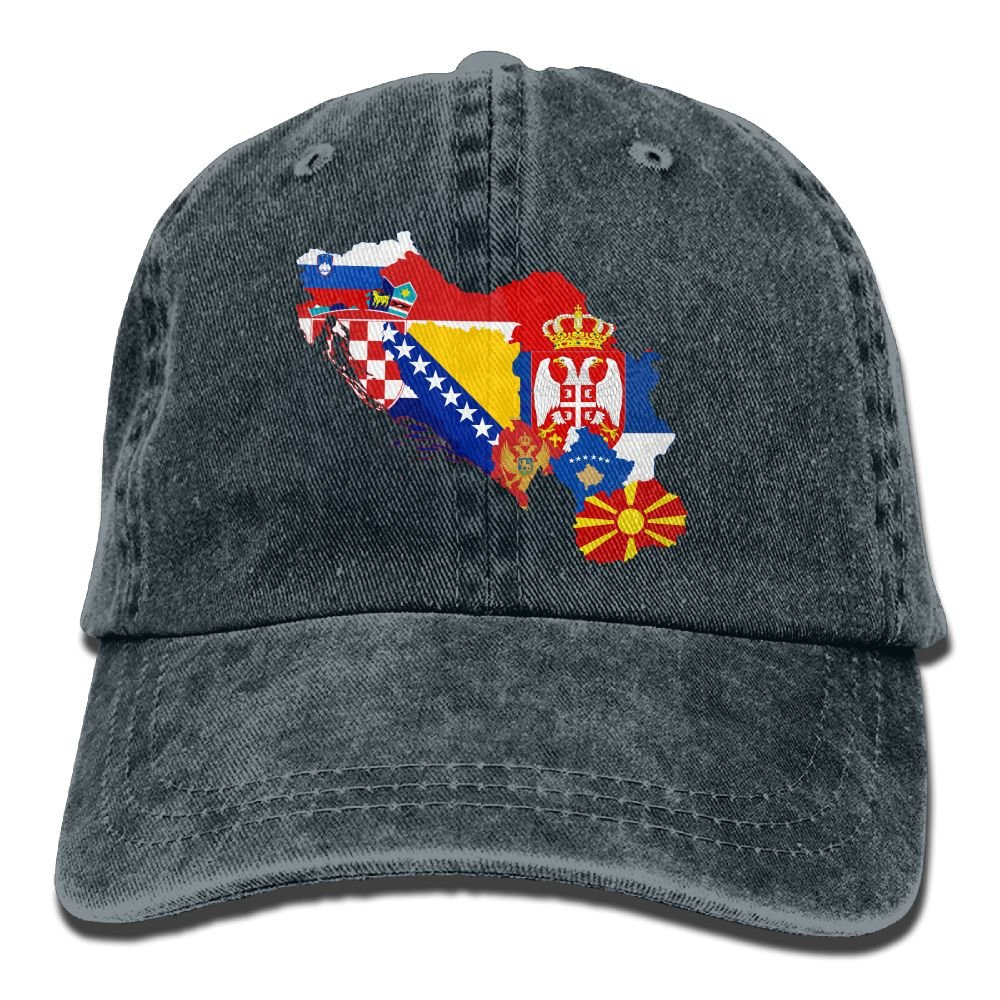 NO4LRM Men s Women s Former Yugoslavia Flag Map Cotton Adjustable Peaked  Baseball Dyed Cap Adult Washed Cowboy Hat at Amazon Men s Clothing store  33d4181ae43
