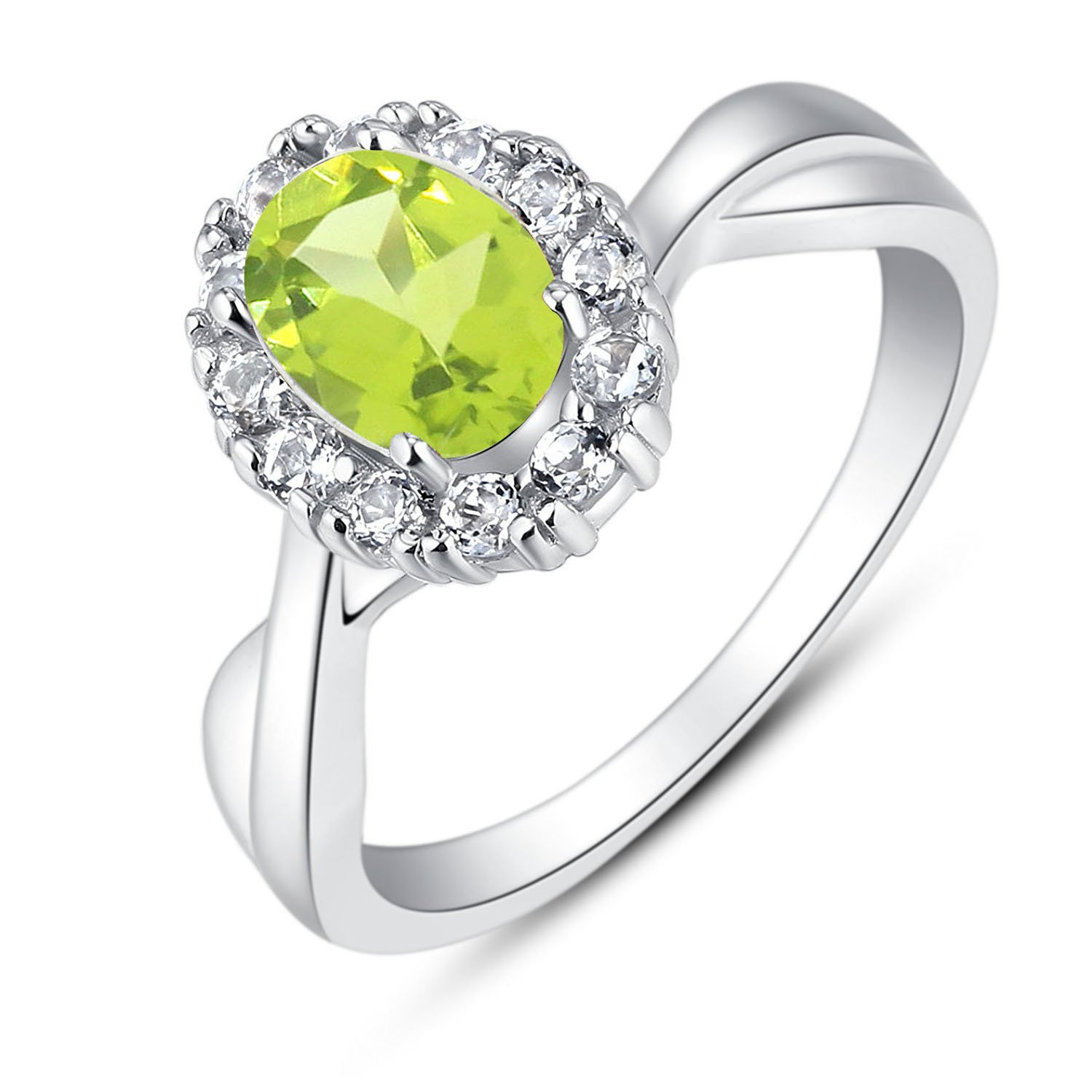 BL Jewelry Sterling Silver Oval Genuine Natural Gemstone Halo Infinity Ring (1 2/5 CT.T.W) (6, peridot)