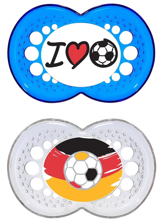 besonders sanfter Schnuller blau Baby Schnuller aus speziellem MAM SkinSoft Silikon mit Schnullerbox MAM Original Silikon Schnuller Football-Kollektion im 2er-Set 6-16 Monate