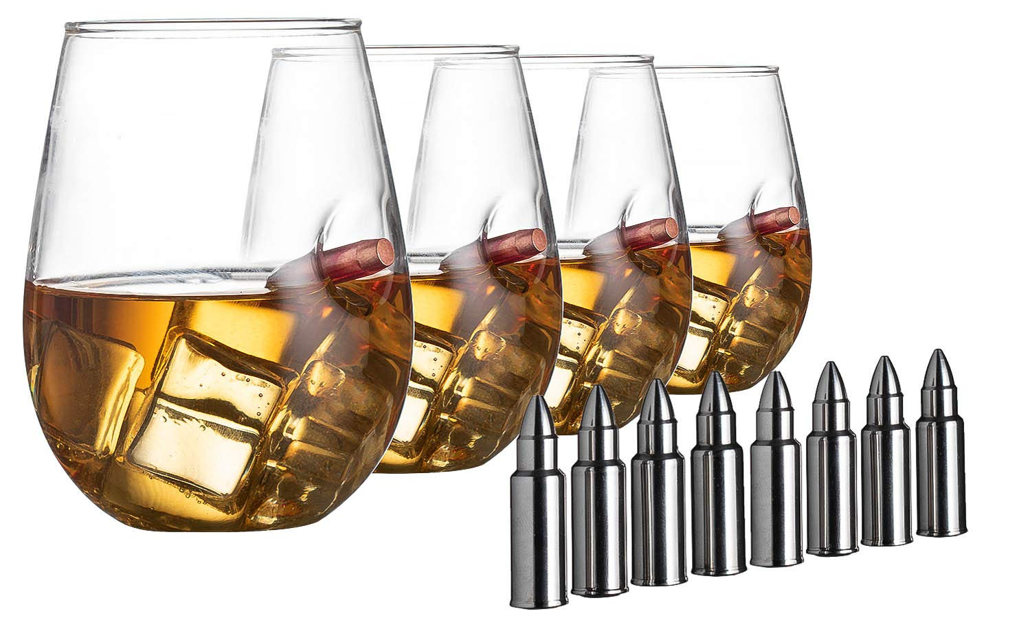 Bullet Glasses .308 Real Handmade, With 8 Bullet Shaped Whiskey Stones, Wine and Whiskey Glass Set of 4 Stemless Wine and Liquor Glasses, Tumbler Drinks Glassware By The Wine Savant