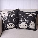 Totoro Pair of Black Totoro Series Print Decorative Pillow Covers 45CMx45CM Linen Throw Pillow Covers Sofa Cushions Black, 45cm x 45cm by Totoro
