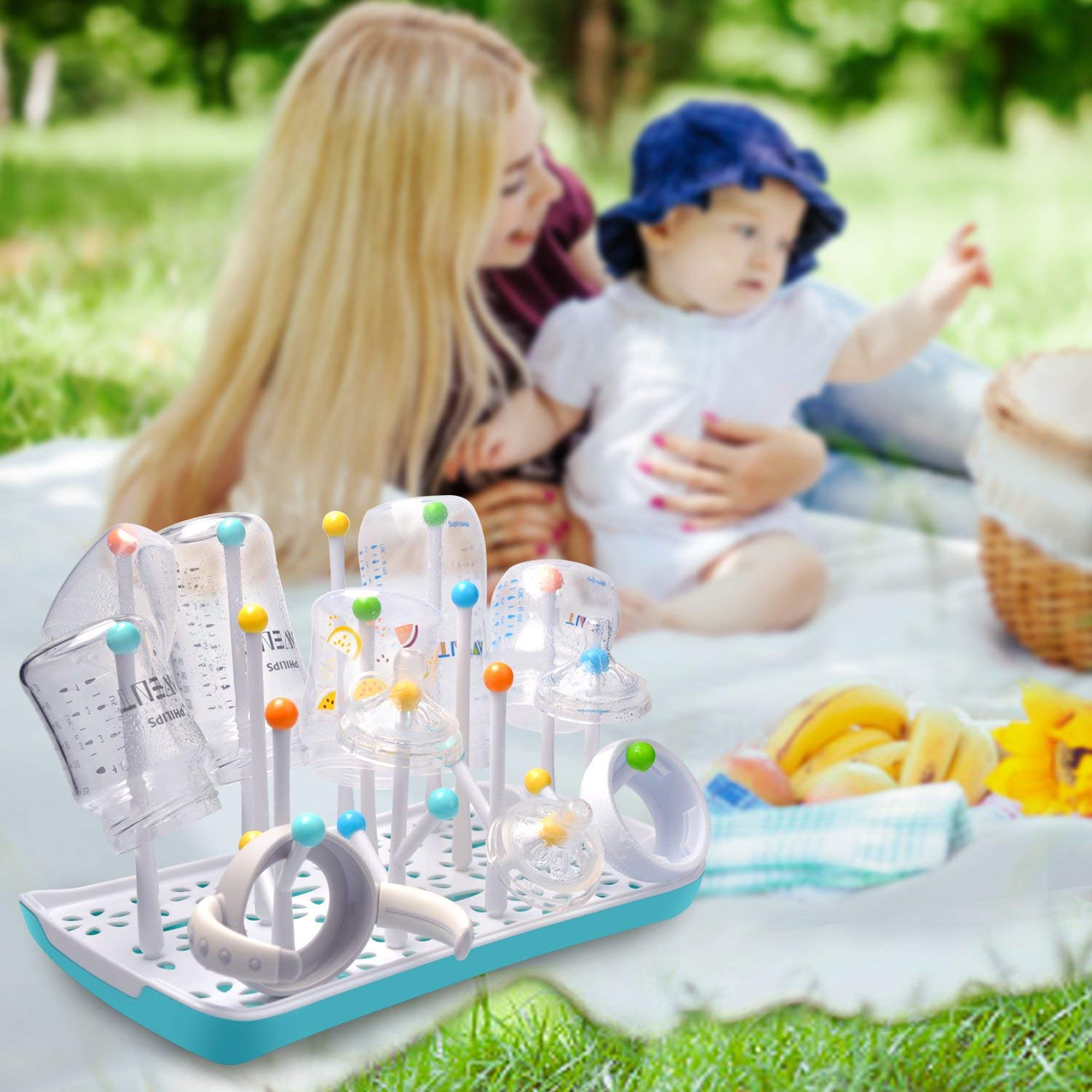 Baby Bottle Drying Rack with Drainer Rectangle Drying Rack Yellow Termichy Countertop Bottle Holder for Baby and Toddler