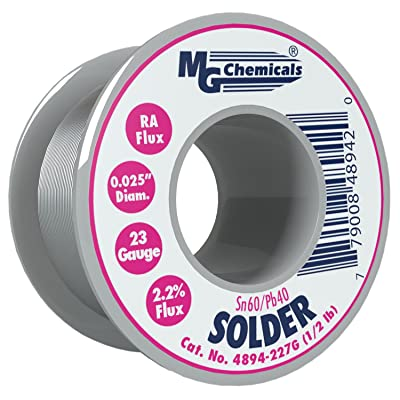 "MG Chemicals 4894-227G 60/40 Rosin Core Leaded Solder, 0.025"" Diameter, 1/2 lbs Spool: Industrial & Scientific"