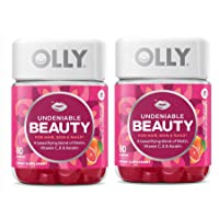 OLLY Undeniable Beauty for Hair Skin and Nails - Beautifying Blend of Biotin, Vitamin C, Vitamin E and Keratin Dietary Supplement in Grapefruit Glam Flavor- 60 Gummies (Pack of 2)
