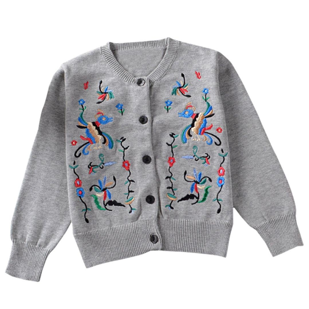 Voberry Toddler Girls Kids Baby Floral Long Sleeve Sweater Knit Cardigan Warm Coat Outwears Warm Thick Outwear Clothes