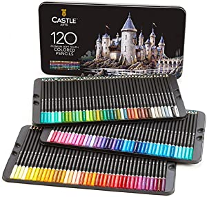 Castle Art Supplies 120 Colored Pencils Set for Adults Artists Professional | Featuring soft series core for expert layering blending shading drawing | Perfect for coloring books and classroom