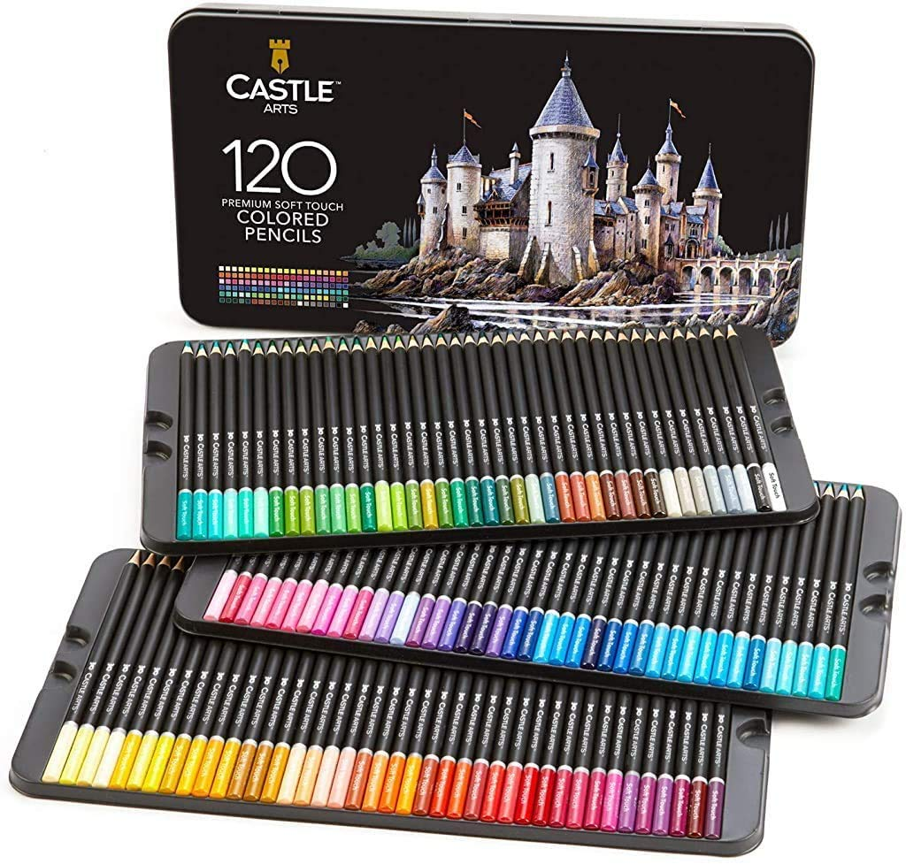 Castle Art Supplies 120 Colored Coloring Pencils Set for Adults Artists Professional | Featuring soft series core for expert layering blending shading drawing | Perfect for coloring books