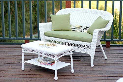 Jeco Wicker Patio Love Seat and Coffee Table Set with Green Cushion, White