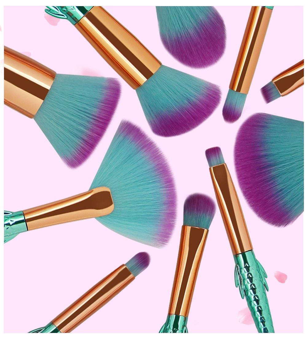 COSHINE Mermaid Makeup Brush Set, 10pcs Rainbow Unique Mermaid Makeup Brush Set with Colorful Brushes Pouch, Unicorn… 8