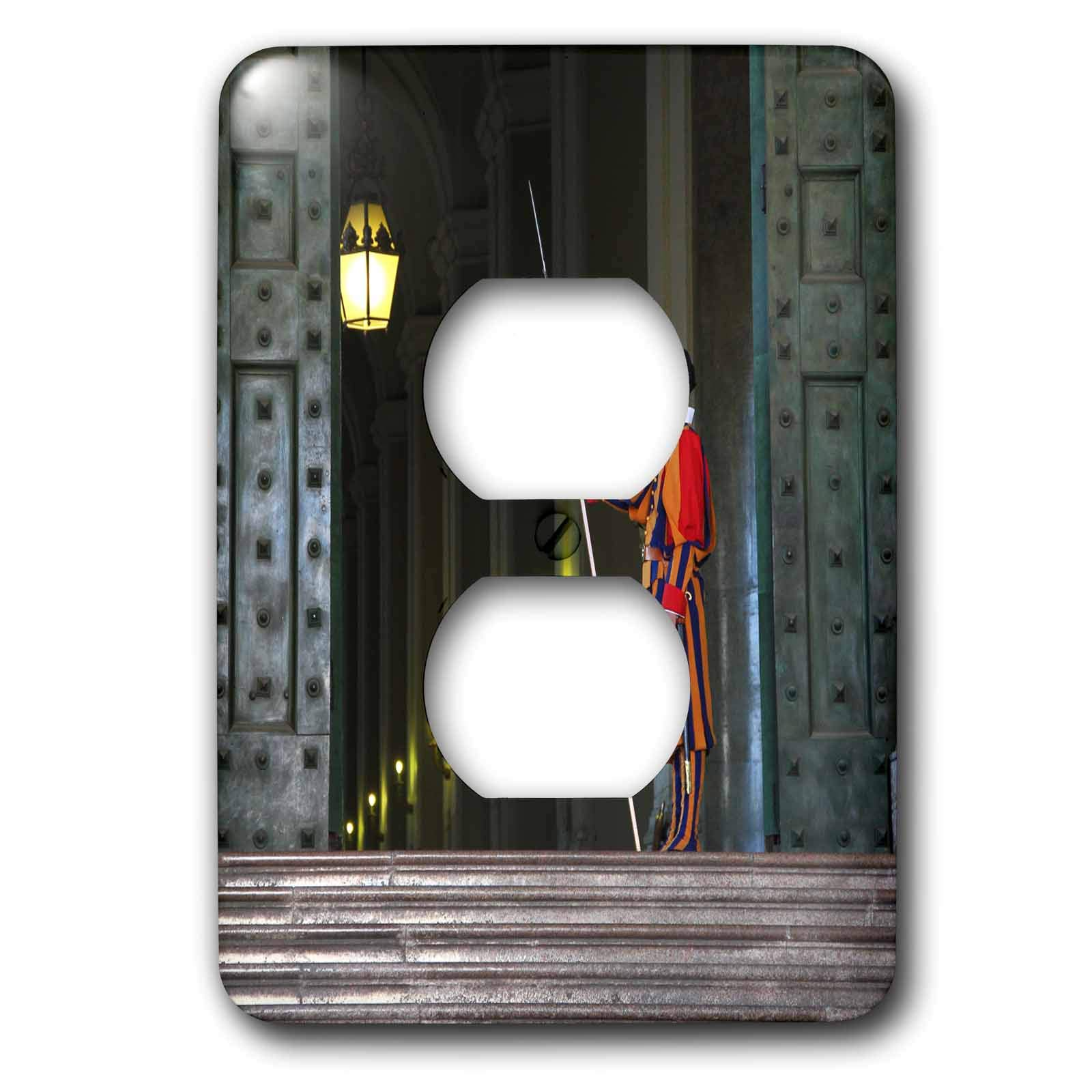 3dRose Elysium Photography - Portrait - Swiss guard on duty, Vatican City - Light Switch Covers - 2 plug outlet cover (lsp_289614_6) by 3dRose