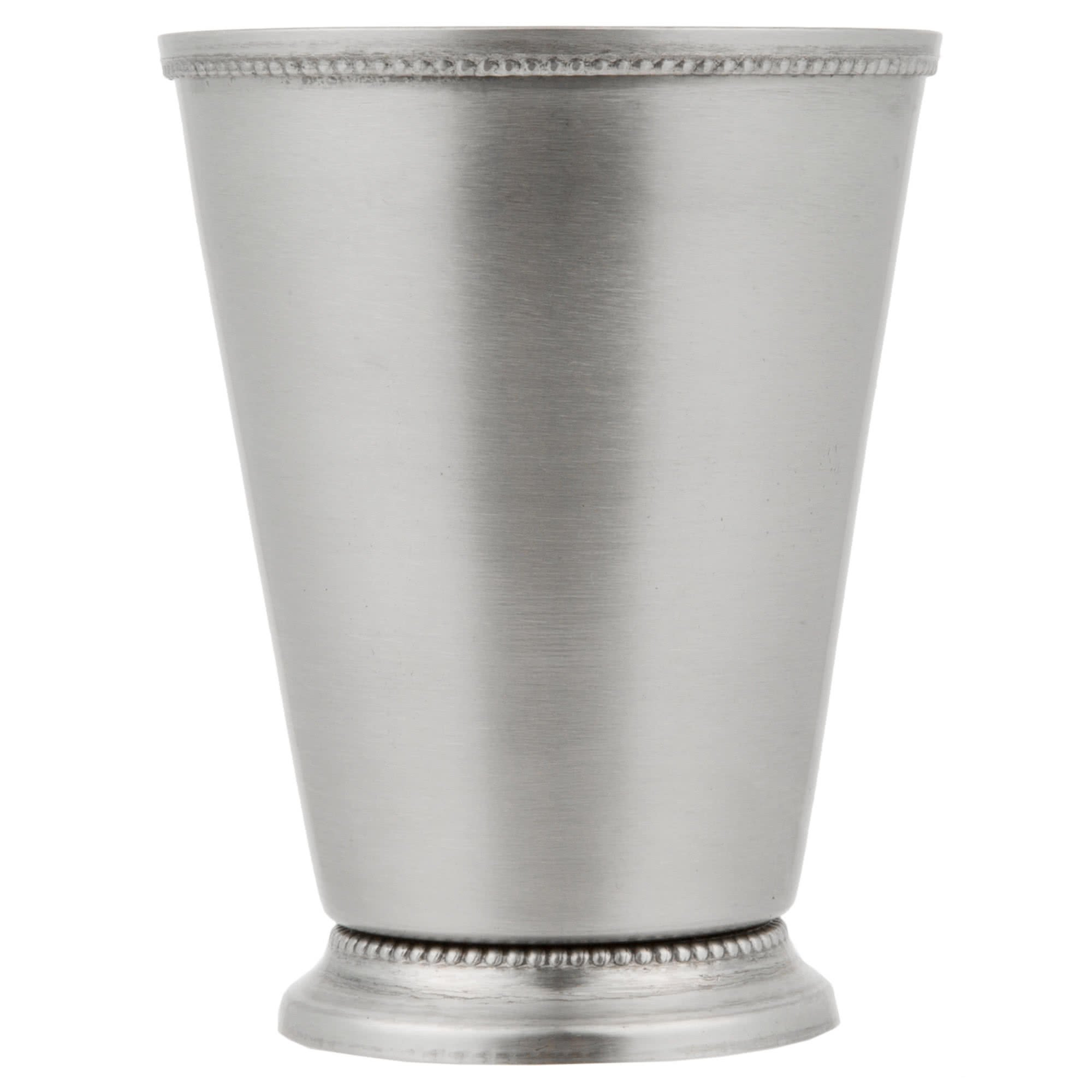TableTop King 16 oz. Stainless Steel Mint Julep Cup with Smooth Finish and Beaded Detailing - 4/Pack