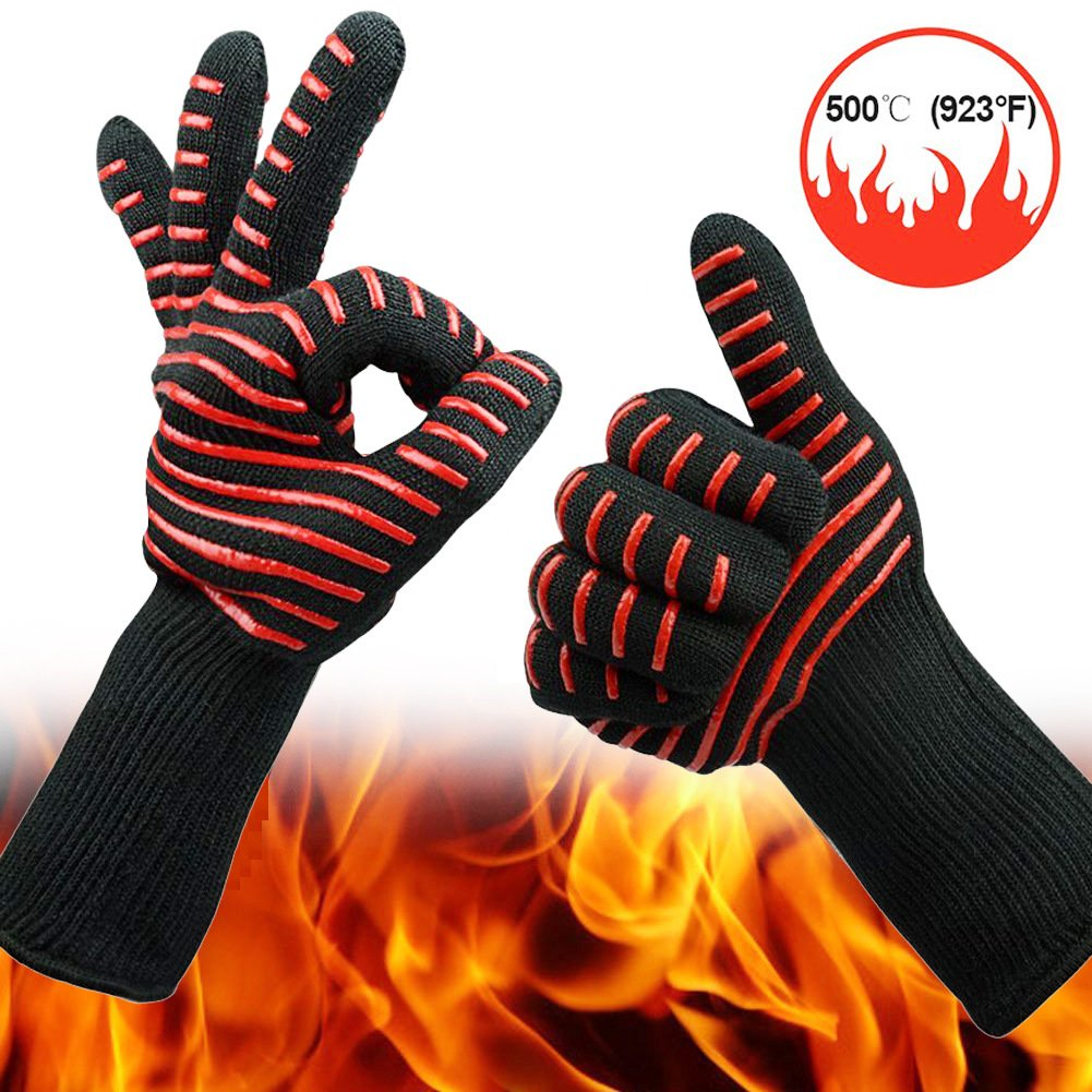 ELTD Extreme Heat Resistant Gloves High Temperature Resistant 500 Degree BBQ Cotton Flame Retardant Non-Slip Fireproof Microwave Oven Gloves for Grilling, Welding, Cutting, Baking
