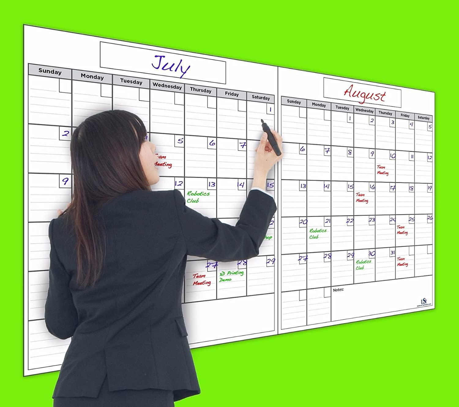 """USI Opti ClearJumbo Monthly Dry Erase Wall Calendar, 2 Months, 36""""x60""""; Wipes 100% Clean - Never Leaves Marker Stains!"""