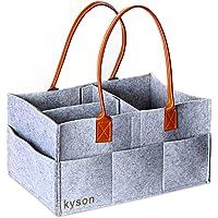Kyson Diaper Caddy Nursery Storage Bin Felt Basket Diapers Organizer Baby Wipes Bag ,Grey