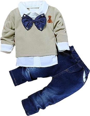 Puseky - Conjunto para bebé - Camisa con pajarita y pantalones vaqueros multicolor multicolor Talla:1~2 Year