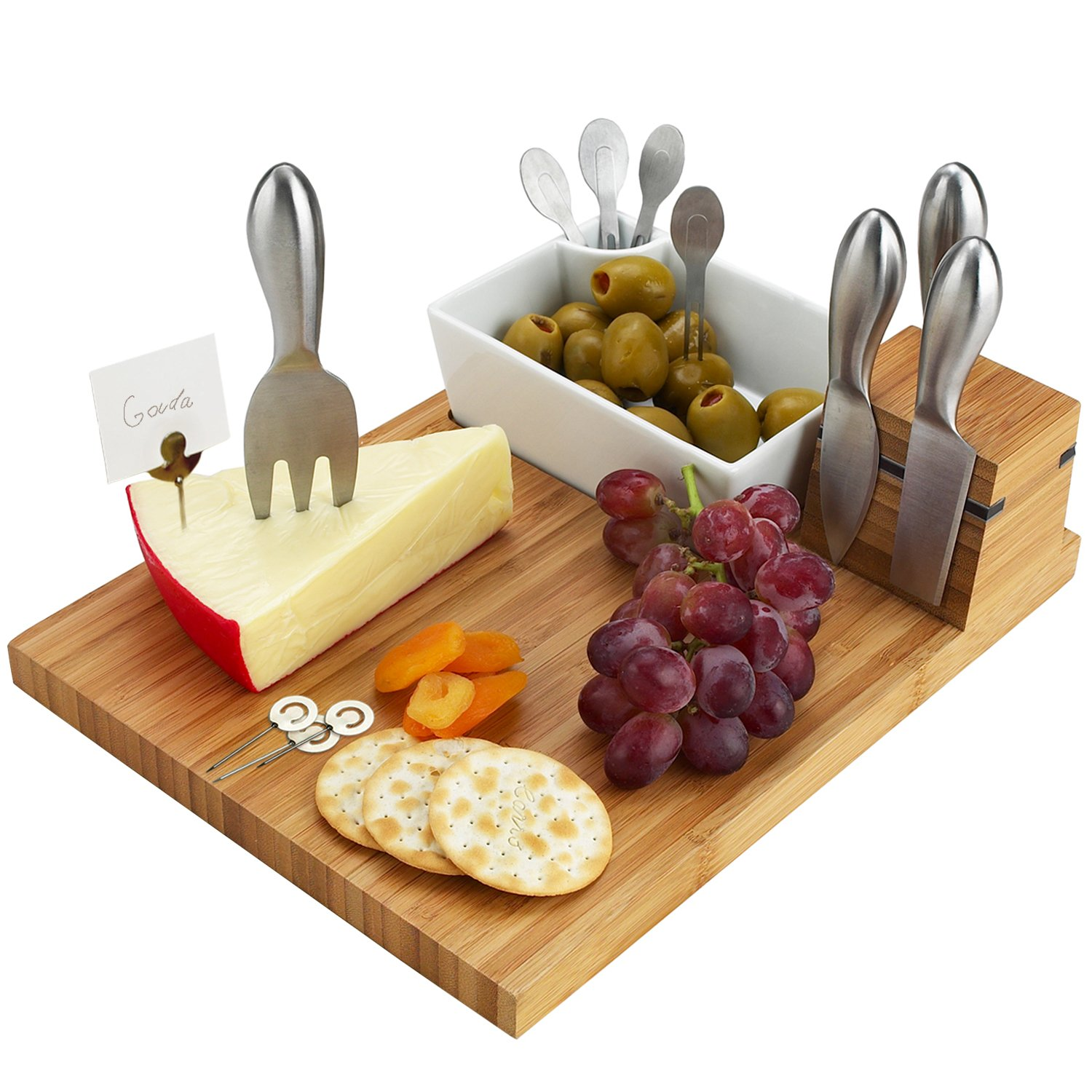 Picnic at Ascot Bamboo Cheese Board with 4 Stainless Steel Cheese Tools, Ceramic Bowl, Cocktail Sticks & Cheese markers - 12'' x 9''- Designed & Quality checked in the USA