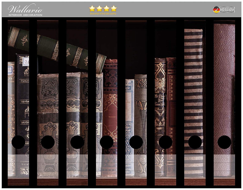 Wallario Ordnerrücken selbstklebend 8 schmale Ordner Bücherregal mit Büchern