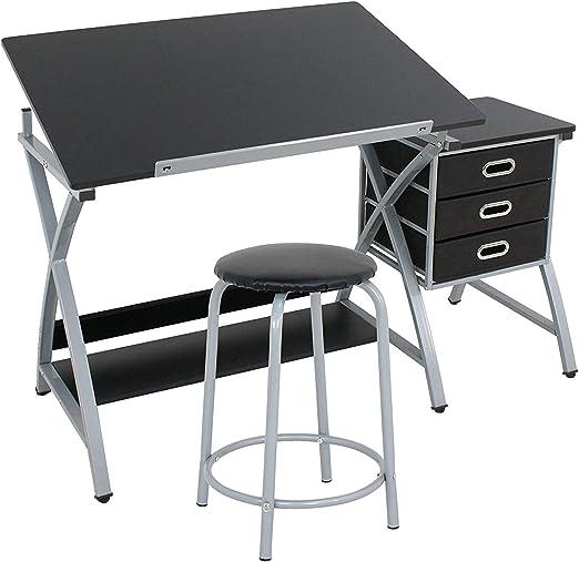 Display4top Mesa de Dibujo con Taburete para arquitectos y ...