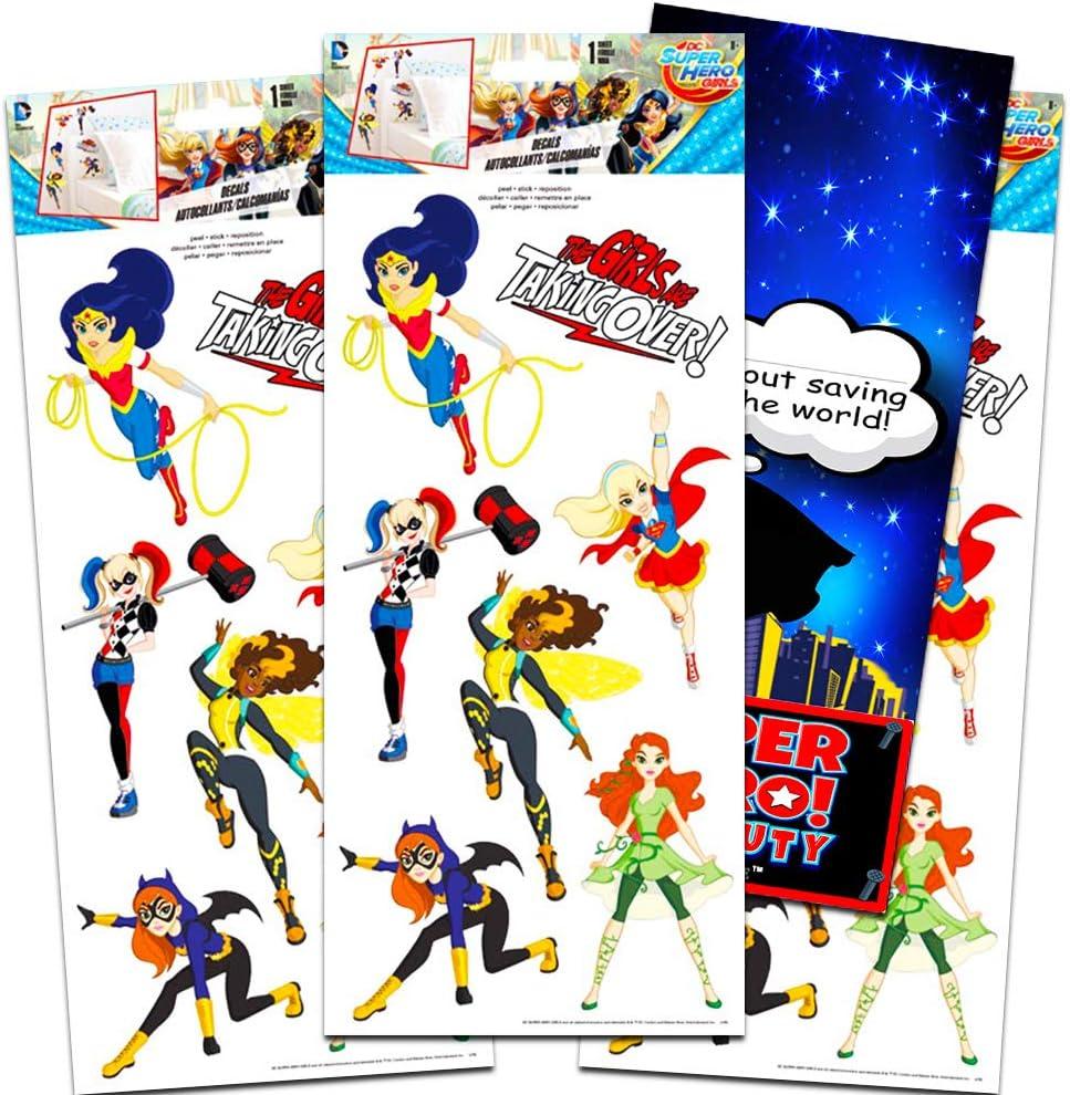 DC Super Hero Girls Decals Bundle - Over 20 Large Super Hero Girls Wall Stickers Featuring Wonder Woman, Supergirl, Batgirl with Crenstone Superhero Door Hanger (Super Hero Girls Room Decor)
