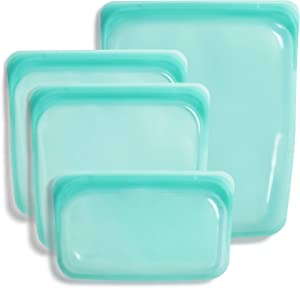 Stasher 100% Silicone Reusable Food Bag (Bundle, Aqua)
