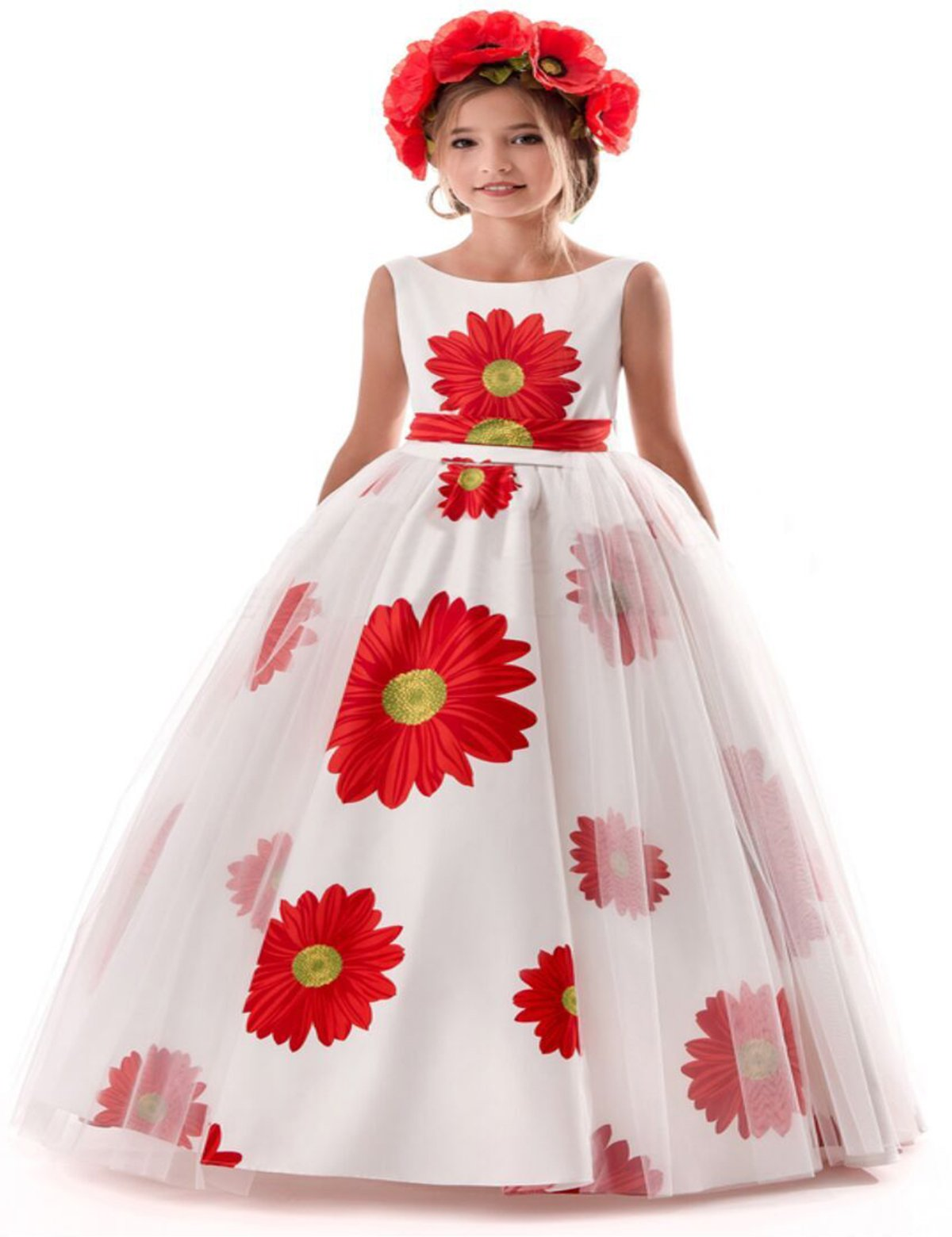 TTYAOVO Girls Pageant Princess Flower Printing Dress Kids Prom Puffy Tulle Ball Gowns Size 12-13 Years White