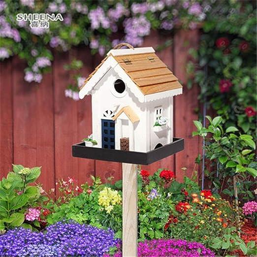 Pajareras Cabañas Bird House Creativo Patio Jardín for cabañas de pájaros pequeños Decoración de pajareras Comedero for pájaros de madera al aire libre Alimentador de pájaros al aire libre vertical Gr: Amazon.es: