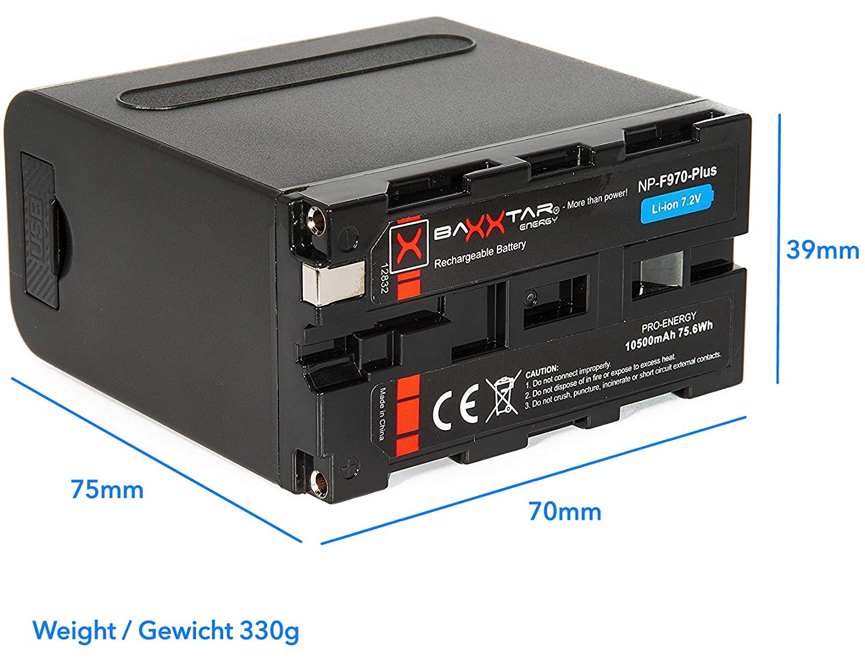 Baxxtar Pro - Plus Batería para Sony NP-F970 (10500mAh) - Serie Negra - LG Cells Inside - con función Powerbank (Salida USB) y Battery Check con 4 ...