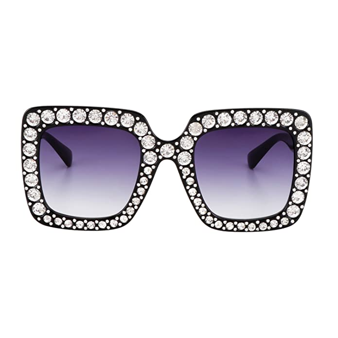 2af6a7fdcc Amazon.com  ROYAL GIRL Black Sunglasses For Women Oversized Square Luxury  Crystal Frame Brand Designer Fashion Glasses (Black
