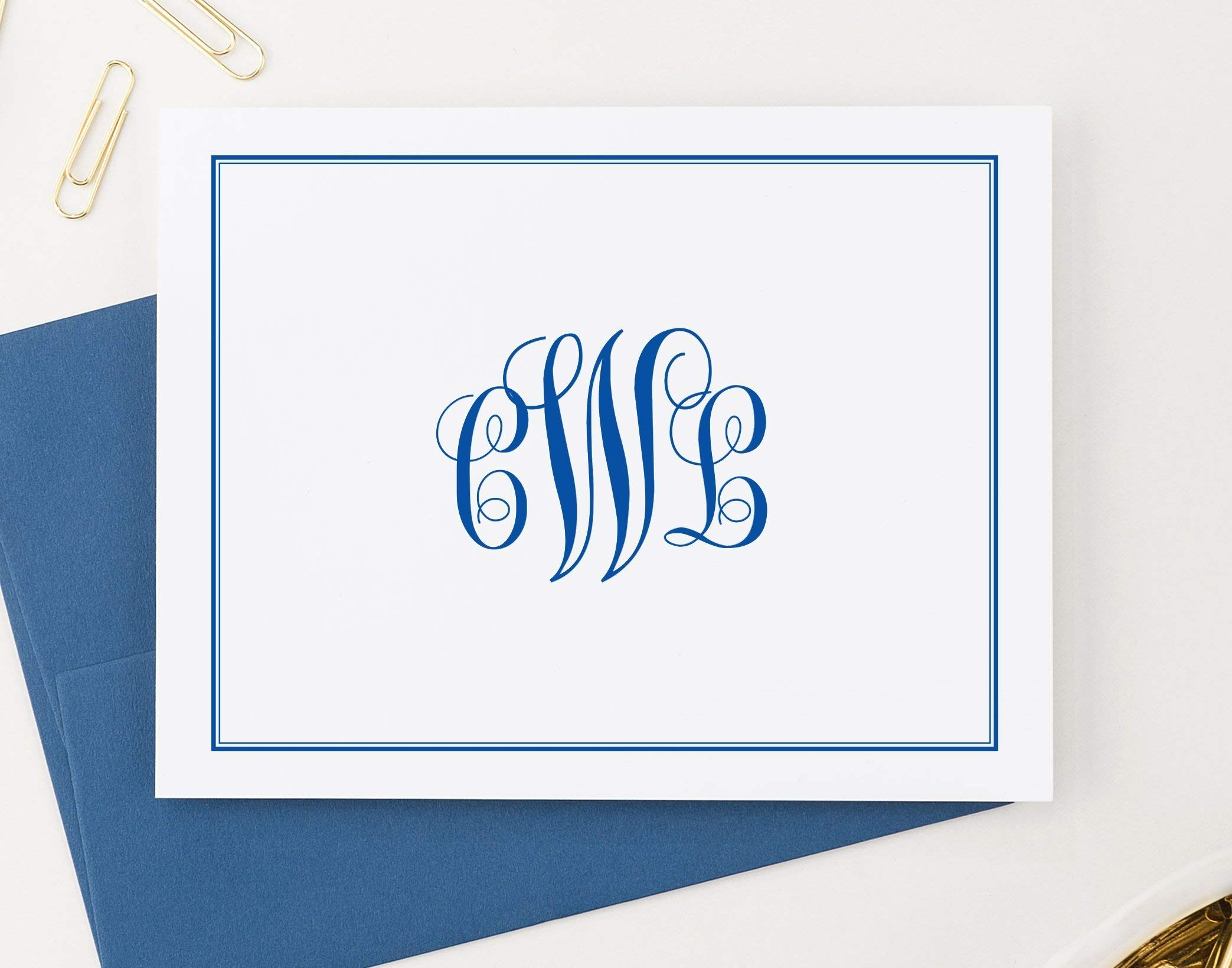 Classic Monogram Stationary Set FOLDED NOTE CARDS, Personalized Stationary Set, Personalized Monogram Stationery Set, Your Choice of Colors, Set of 10 folded note cards and envelopes