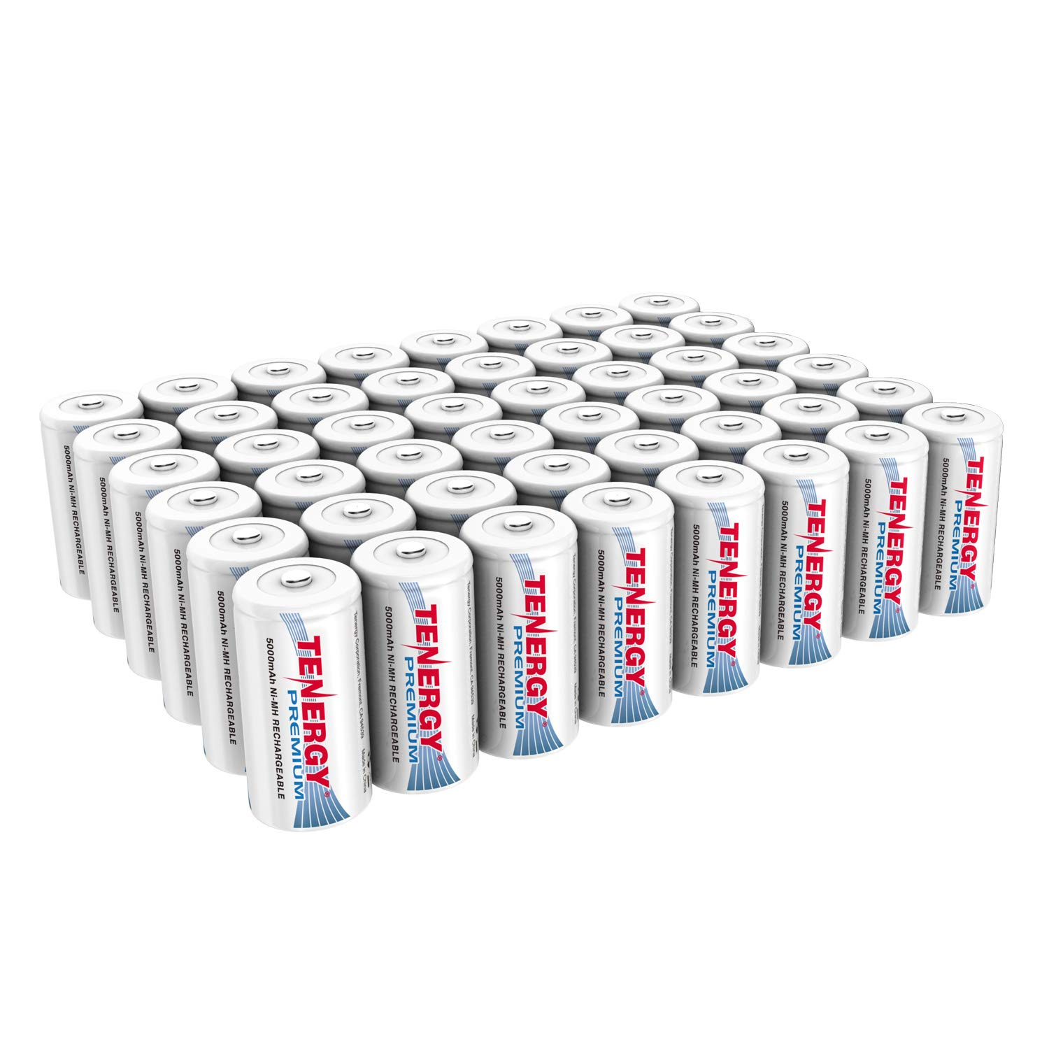 Tenergy Premium Rechargeable C Batteries, High Capacity 5000mAh NiMH C Size Battery, C Cell Battery, 48-Pack by Tenergy