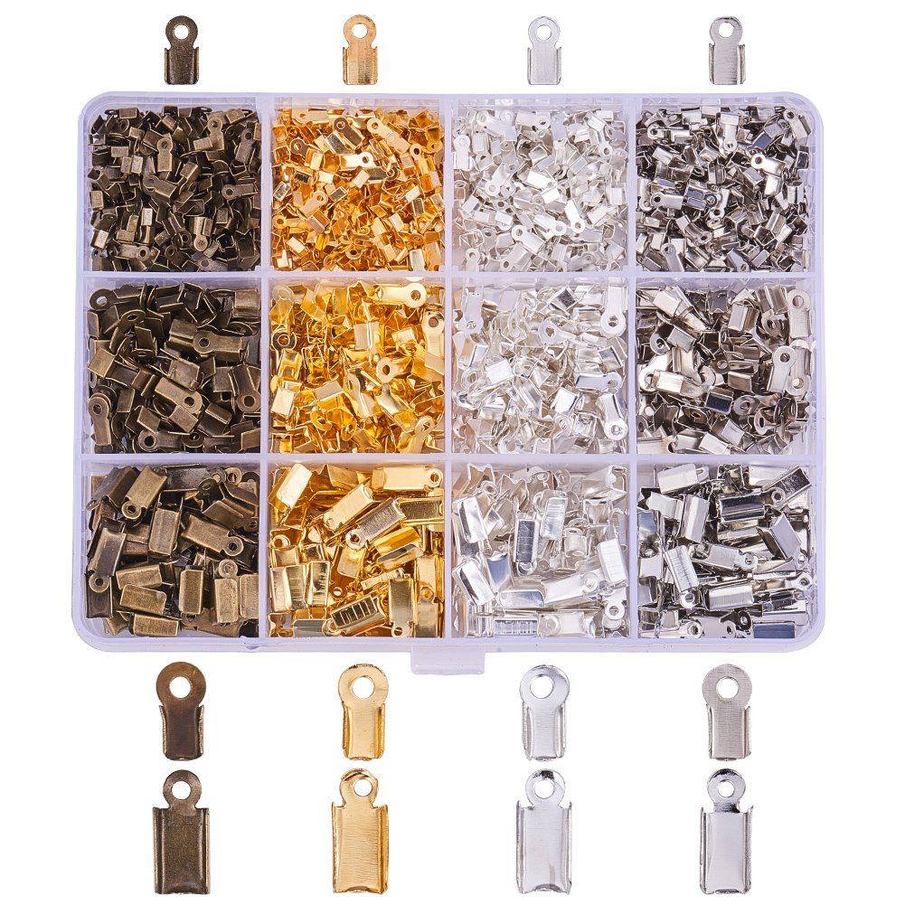 PandaHall Elite 1760 Pcs Jewelry Findings Kits Cord Ends Kits For Jewellery Making, 4 Mixed Colors, 6/9/12x3/3.5/5x2.3/4/4mm PH PandaHall