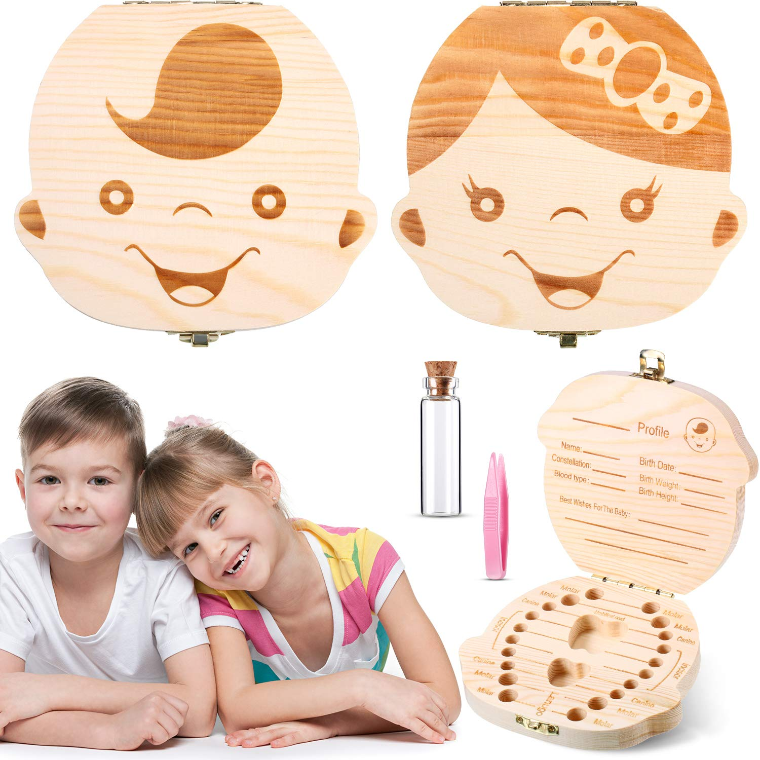 English Gril Wooden Childrens Souvenir Organizer Baby Teeth Gift Cute Childs Teeth Container Keeping Childrens Memory with Tweezers youeneom Baby Tooth Box
