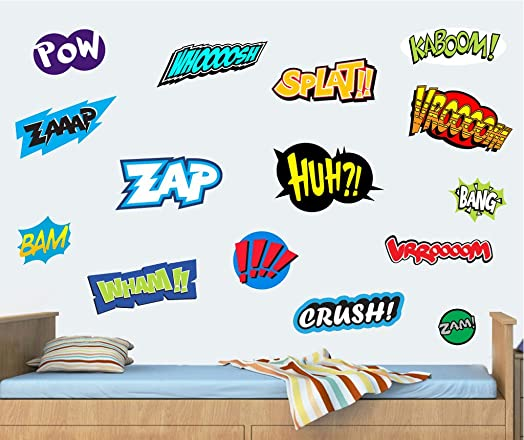 Comic Actions Pack Of Individual Wall Art Vinyl Stickers - How to make vinyl stickers stick