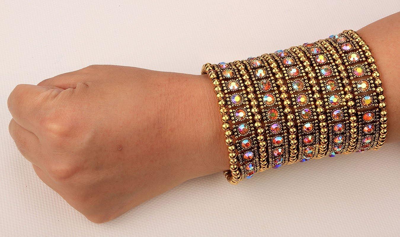 Angel Jewelry Womens Multilayer Crystal Stretch Bracelet 5 Row