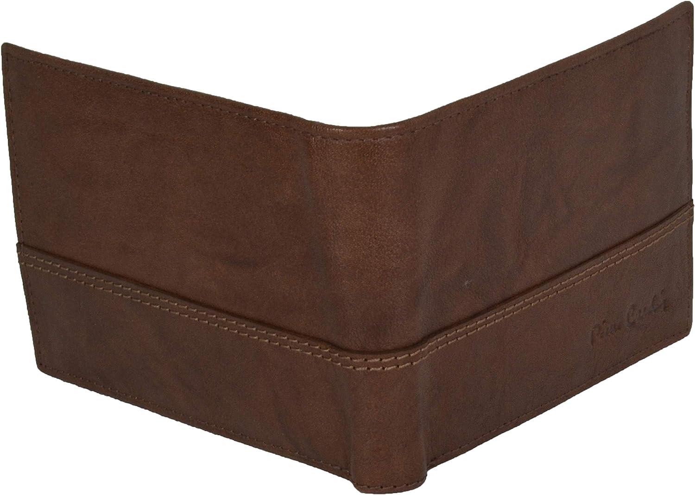 Cartera de piel aut/éntica para hombre con monedero con caja de regalo RFID Pierre Cardin