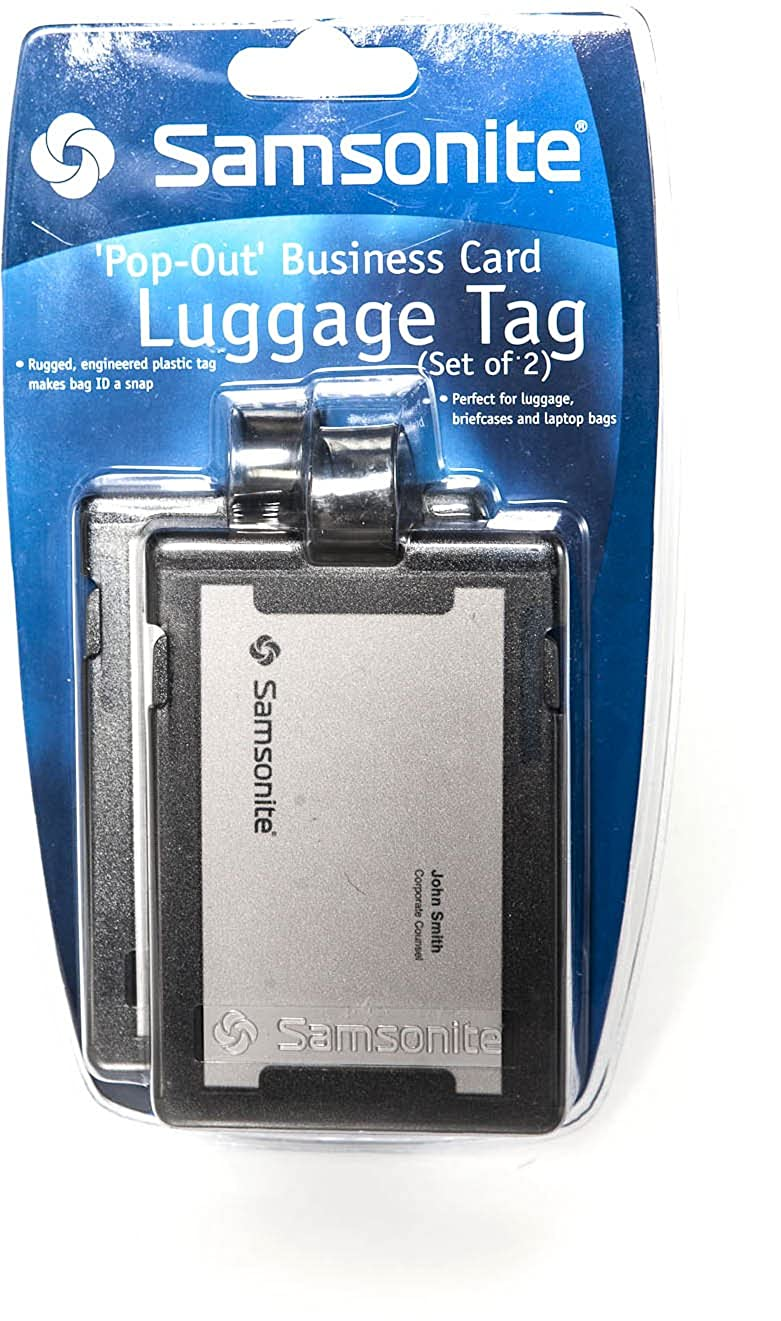 Samsonite Pop-Out Business Card Luggage Tag Black 2 stk.: Amazon.co ...