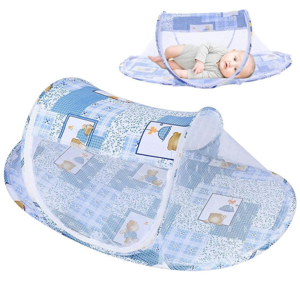 Baby Mosquito Net, Portable Foldable Mosquito Summer Comfortable Sleeping Tent for Newborn Infant Toddler Home and Travel (Blue)