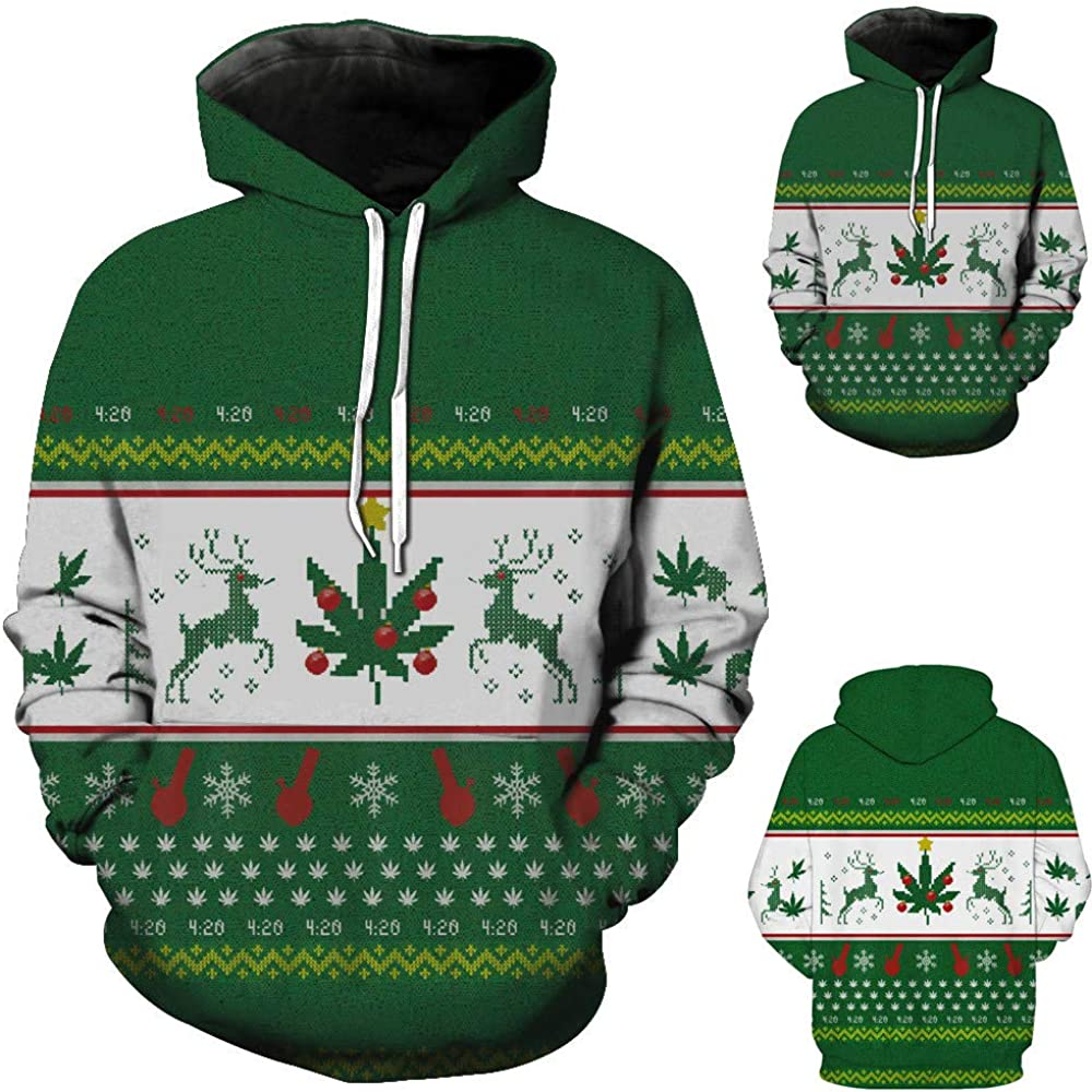 SoeHir Mens Autumn Winter Coats and Jackets Printing Long Sleeve Hooded Christmas Sweatershirt Hoodie Wiht Pockets