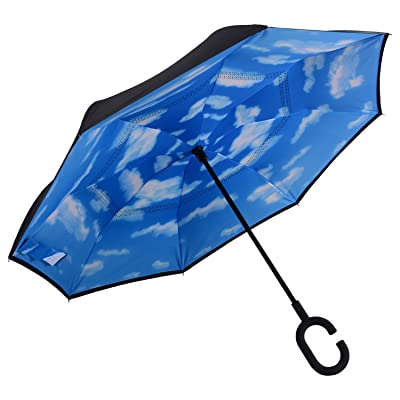 RENZER Inverted Umbrella Travel Double Layer Compact Self-standing Cars Reverse Folding Umbrella